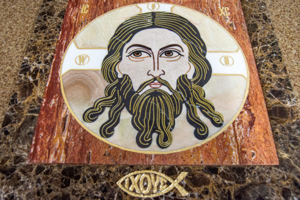 Икона Спас Нерукотворный № 1-12-8 из камня, Гливи, фото 1
