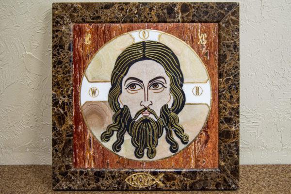 Икона Спас Нерукотворный № 1-12-8 из камня, Гливи, фото 3