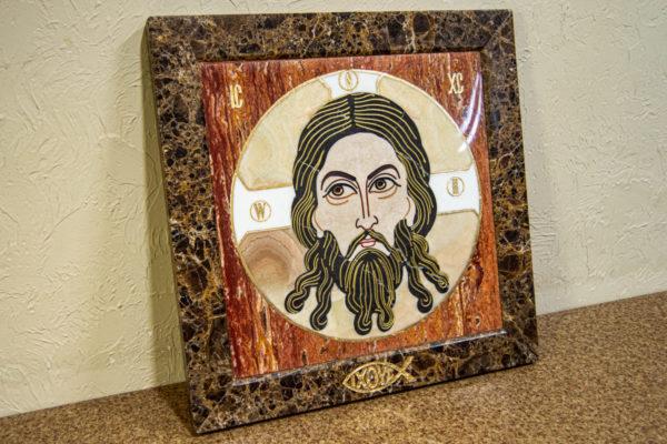 Икона Спас Нерукотворный № 1-12-8 из камня, Гливи, фото 5