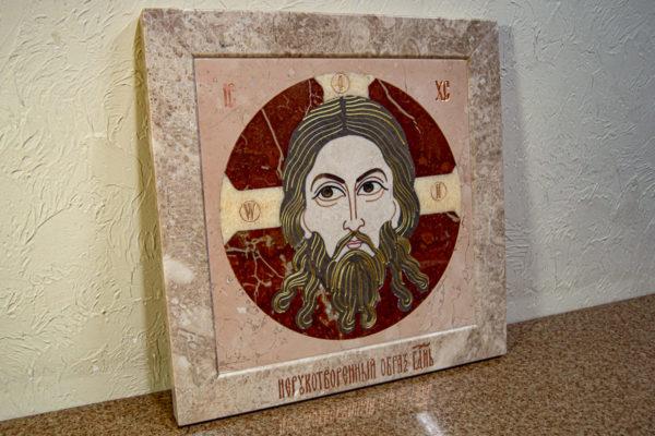 Икона Спас Нерукотворный № 1-12-10 из камня, Гливи, фото 4