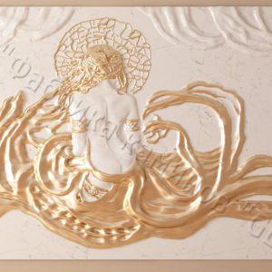 Барельеф из натурального камня (мрамора) Дама в белом мраморе, фото 1