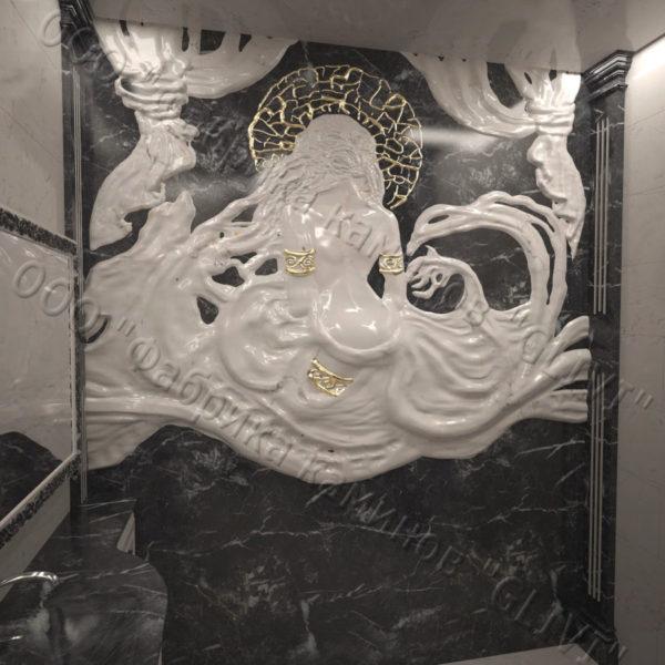 Барельеф из натурального камня (мрамора) Дама в черном мраморе, фото 1