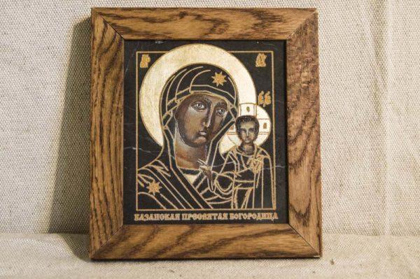 Икона Казанской Божией Матери № 1-01 подарочная из мрамора, камня, от Гливи, фото 1