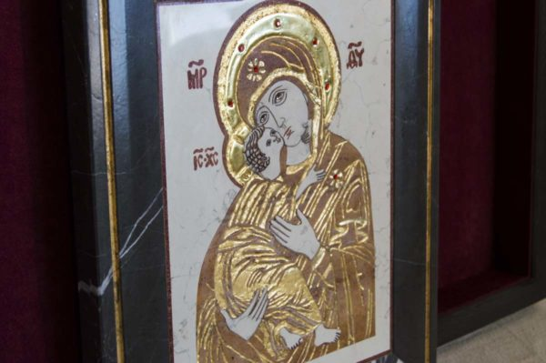 Икона Владимирской Божией Матери № 5 из мрамора, камня, от Гливи, фото 1