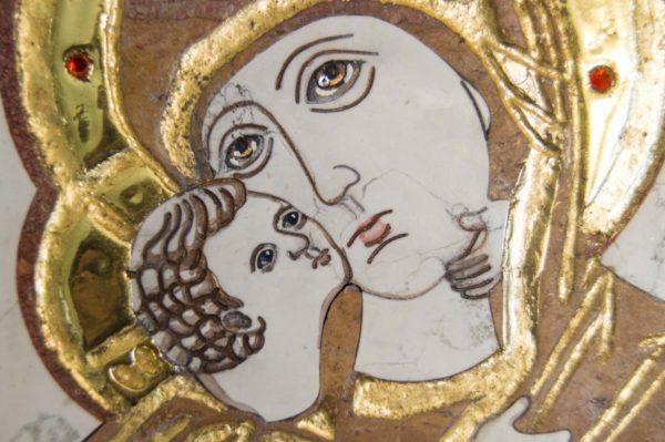 Икона Владимирской Божией Матери № 5 из мрамора, камня, от Гливи, фото 4