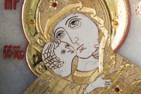Икона Владимирской Божией Матери № 2 из мрамора, камня, от Гливи, фото 2
