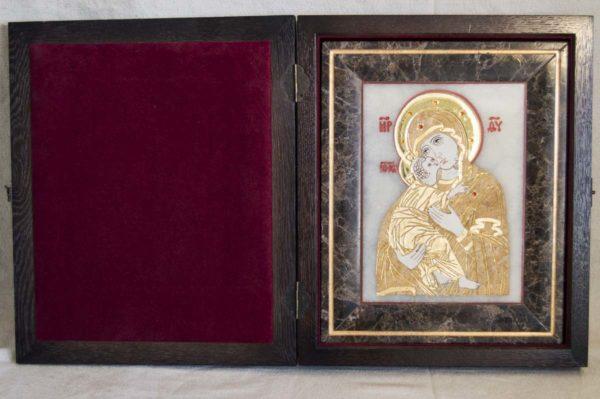 Икона Владимирской Божией Матери № 2 из мрамора, камня, от Гливи, фото 4