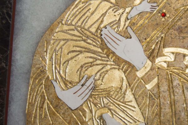 Икона Владимирской Божией Матери № 2 из мрамора, камня, от Гливи, фото 5
