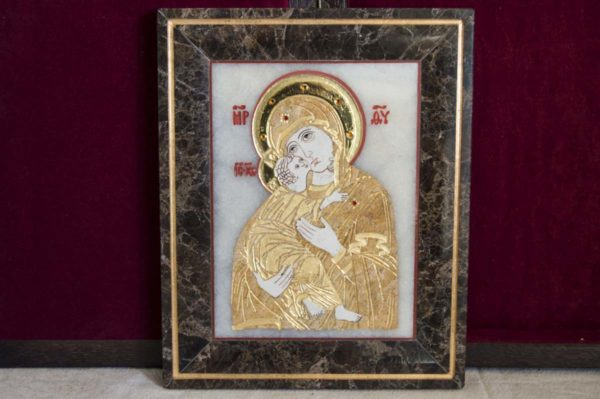 Икона Владимирской Божией Матери № 2 из мрамора, камня, от Гливи, фото 10