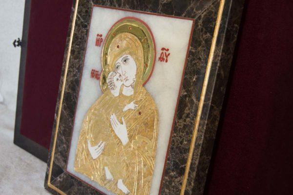 Икона Владимирской Божией Матери № 2 из мрамора, камня, от Гливи, фото 13