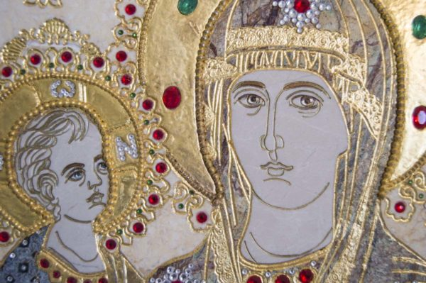 Икона Божией Матери Троеручица № 2-12-6 из мрамора, камня, изображение, фото 1