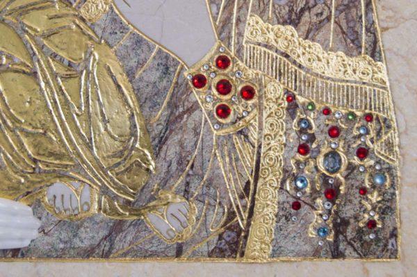 Икона Божией Матери Троеручица № 2-12-6 из мрамора, камня, изображение, фото 2