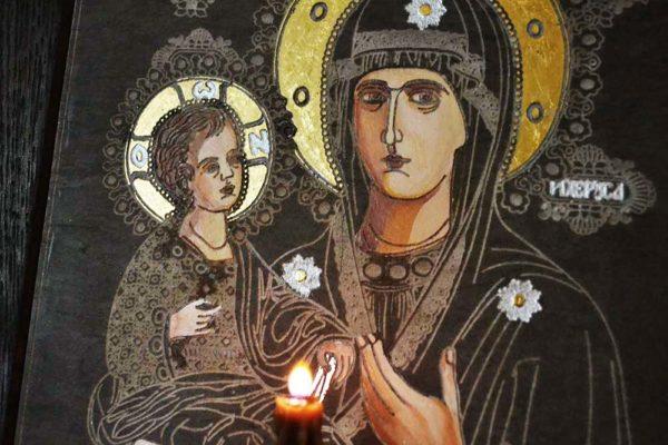 Икона Божией Матери Троеручица № 1-01 из мрамора, камня, изображение, фото 1