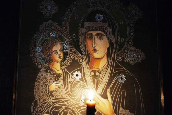 Икона Божией Матери Троеручица № 1-01 из мрамора, камня, изображение, фото 3