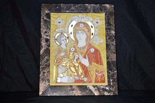 Икона Божией Матери Троеручица № 2-12-1 из мрамора, камня, изображение, фото 1