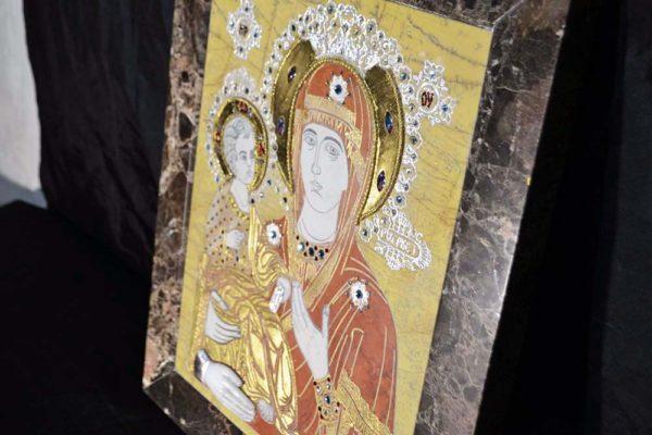Икона Божией Матери Троеручица № 2-12-1 из мрамора, камня, изображение, фото 2