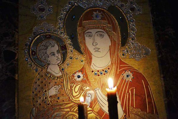 Икона Божией Матери Троеручица № 2-12-1 из мрамора, камня, изображение, фото 4
