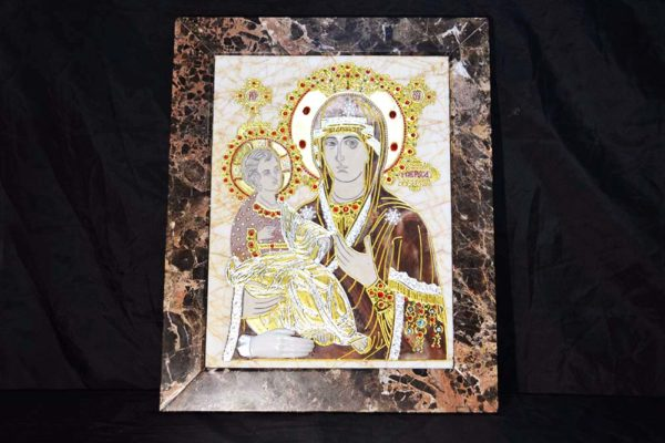 Икона Божией Матери Троеручица № 2-12-2 из мрамора, камня, изображение, фото 1