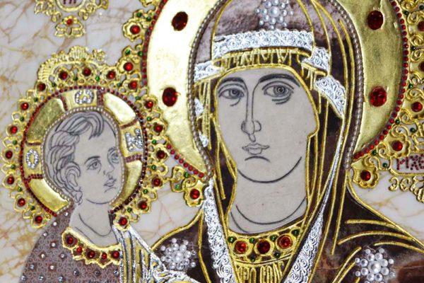 Икона Божией Матери Троеручица № 2-12-2 из мрамора, камня, изображение, фото 3