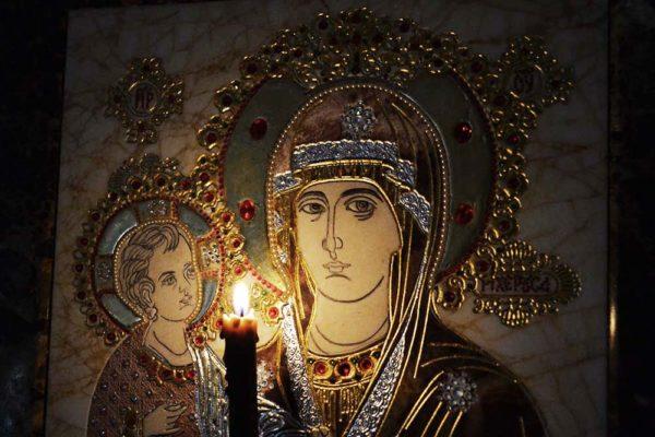 Икона Божией Матери Троеручица № 2-12-2 из мрамора, камня, изображение, фото 4