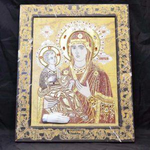 Икона Божией Матери Троеручица № 2-12-4 из мрамора, камня, изображение, фото 1