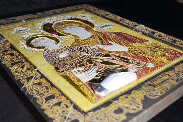 Икона Божией Матери Троеручица № 2-12-4 из мрамора, камня, изображение, фото 4
