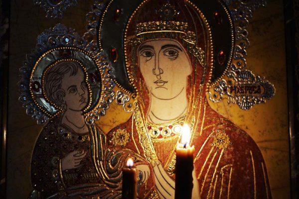 Икона Божией Матери Троеручица № 2-12-4 из мрамора, камня, изображение, фото 5
