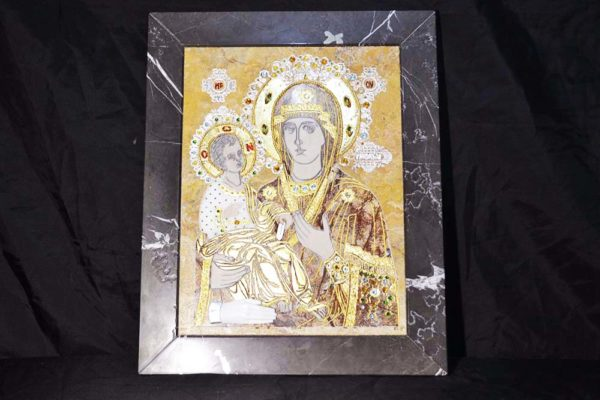 Икона Божией Матери Троеручица № 2-12-5 из мрамора, камня, изображение, фото 1