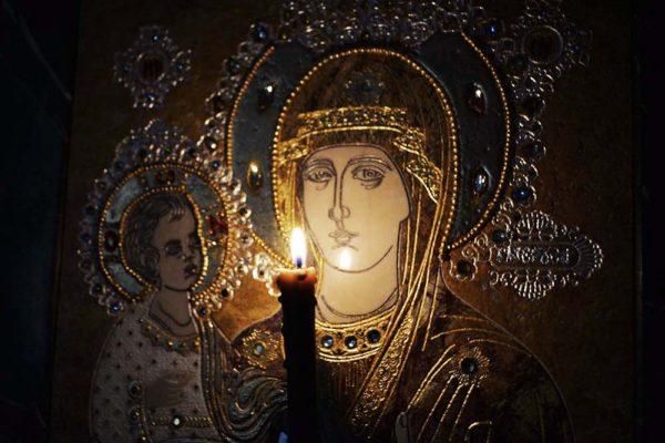 Икона Божией Матери Троеручица № 2-12-5 из мрамора, камня, изображение, фото 3