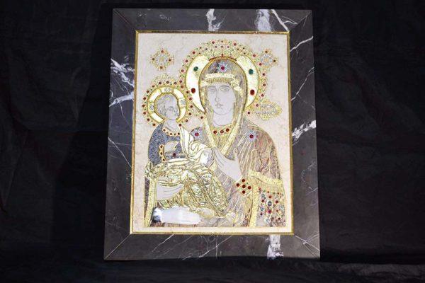 Икона Божией Матери Троеручица № 2-12-6 из мрамора, камня, изображение, фото 4