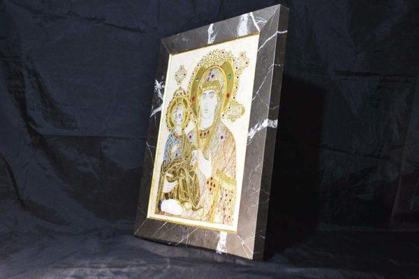Икона Божией Матери Троеручица № 2-12-6 из мрамора, камня, изображение, фото 5