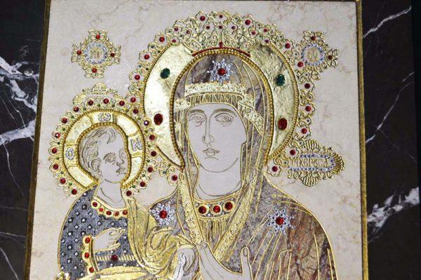 Икона Божией Матери Троеручица № 2-12-6 из мрамора, камня, изображение, фото 6