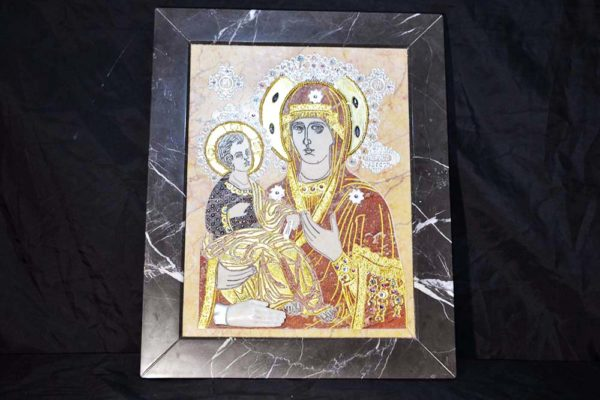 Икона Божией Матери Троеручица № 2-12-7 из мрамора, камня, изображение, фото 1