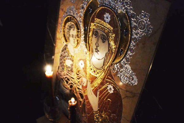 Икона Божией Матери Троеручица № 2-12-7 из мрамора, камня, изображение, фото 3