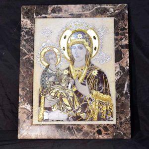 Икона Божией Матери Троеручица № 2-12-8 из мрамора, камня, изображение, фото 1