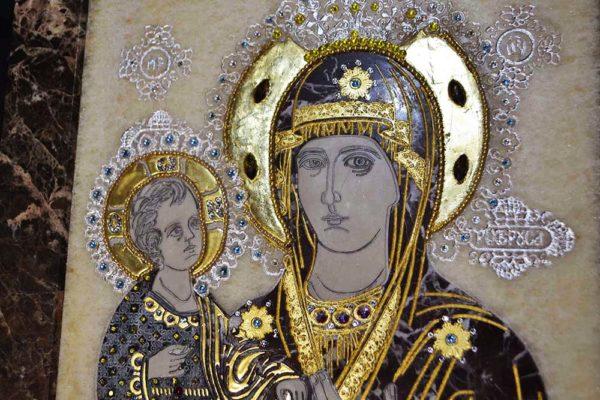 Икона Божией Матери Троеручица № 2-12-8 из мрамора, камня, изображение, фото 4