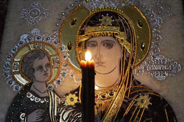 Икона Божией Матери Троеручица № 2-12-8 из мрамора, камня, изображение, фото 5