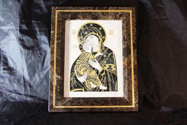 Икона Владимирской Божией Матери № 3 из мрамора, камня, от Гливи, фото 1