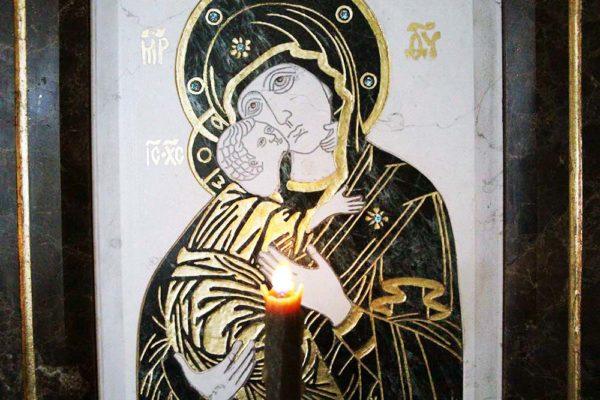 Икона Владимирской Божией Матери № 3 из мрамора, камня, от Гливи, фото 2
