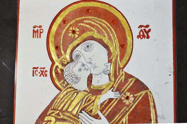 Икона Владимирской Божией Матери № 5 из мрамора, камня, от Гливи, фото 13