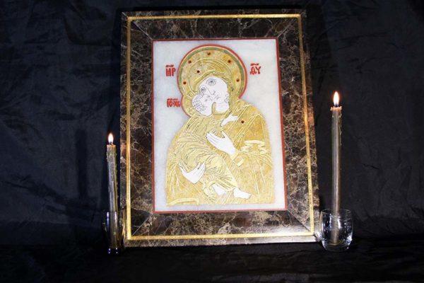 Икона Владимирской Божией Матери № 2 из мрамора, камня, от Гливи, фото 14