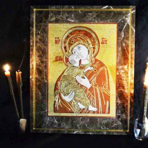 Икона Владимирской Божией Матери № 9 из мрамора, камня, от Гливи, фото 1