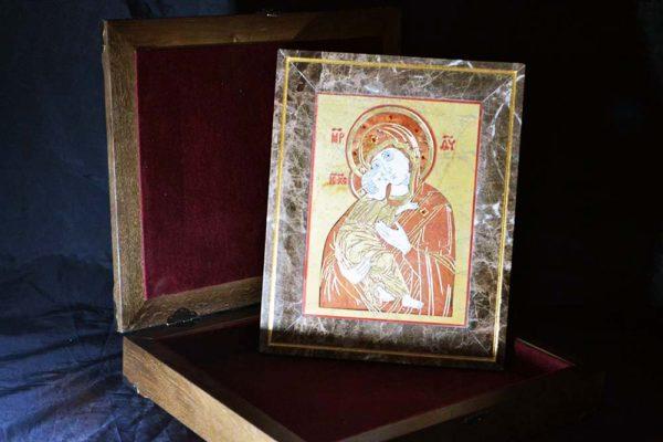 Икона Владимирской Божией Матери № 9 из мрамора, камня, от Гливи, фото 2
