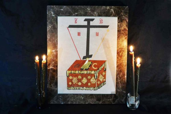 Икона Владимирской Божией Матери № 9 из мрамора, камня, от Гливи, фото 3