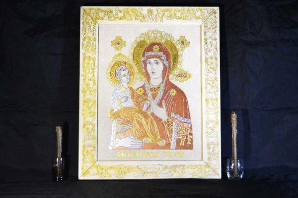 Икона Божией Матери Троеручица № 02 из мрамора, камня, изображение, фото 1