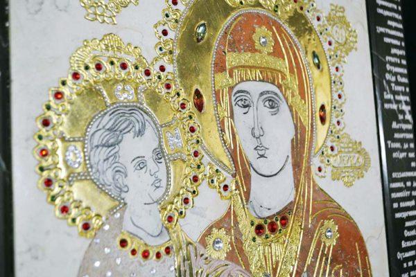 Икона Божией Матери Троеручица № 2-12-9 из мрамора, камня, изображение, фото 2