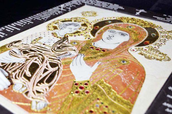 Икона Божией Матери Троеручица № 2-12-9 из мрамора, камня, изображение, фото 3