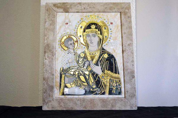 Икона Божией Матери Троеручица № 2-12-10 из мрамора, камня, изображение, фото 1