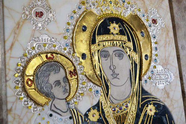 Икона Божией Матери Троеручица № 2-12-10 из мрамора, камня, изображение, фото 2