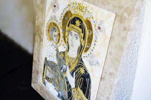 Икона Божией Матери Троеручица № 2-12-10 из мрамора, камня, изображение, фото 3